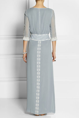 Tory Burch Charlize embroidered silk-georgette gown