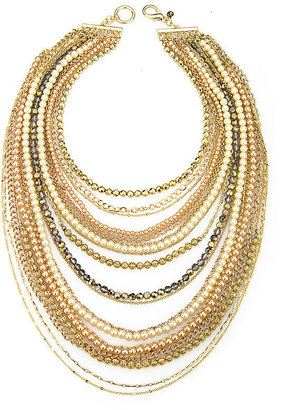Sequin Nancy Multistrand Pearl Necklace, Gold