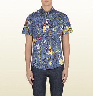 Gucci Flora Strip Printed Poplin Stretch Military Shirt