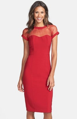 Women's Maggy London Illusion Yoke Crepe Sheath Dress $148 thestylecure.com