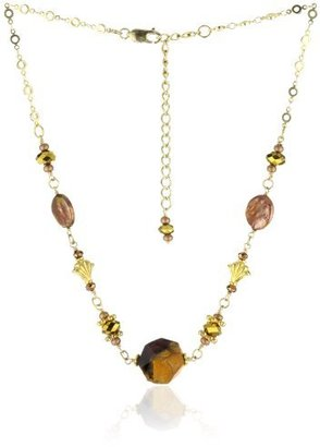"""Karen London """"Amber"""" Butterscotch Agate and Coin Pearl Collar Necklace"""