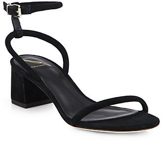 Brian Atwood Suede Chunky-Heel Sandals