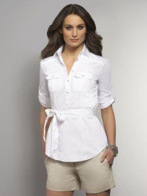 New York & Co. Safari-Style Button Front Shirt