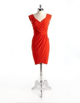 Nicole Miller Ruched Wrap-Effect Cocktail Dress