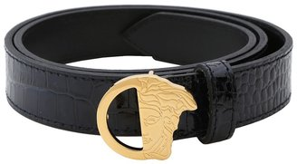 Versace Croc Print with Gold Medusa Buckle (Navy) - Apparel