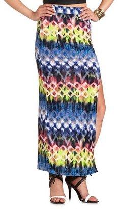 Charlotte Russe Printed Side Slit Maxi Skirt
