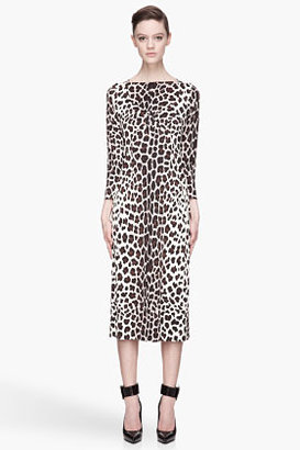 Marc Jacobs Brown and ivory silk paneled leopard-print dress