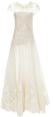 Marchesa Engineered Lace Gown With Pearl Embroidery
