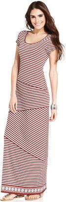 Studio M Dress, Cap-Sleeve Tiered-Stripe Maxi