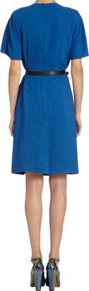 Fendi Low-Cap-Sleeve, Overlaid Side-Vent Dress