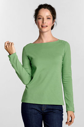 Lands' End Women's Regular Long Sleeve Interlock Boatneck Shirt