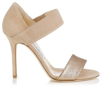 Jimmy Choo Tallow Suede and Fine Glitter Evening Sandals