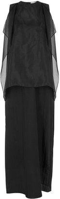 MARK KENLY DOMINO TAN Darcie Black Organza Maxi Dress