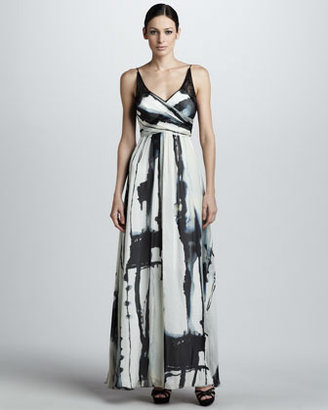 Nicole Miller Printed Wrap-Bodice Gown