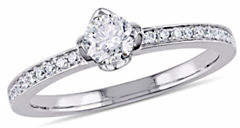 HBC CONCERTO 0.5 TCW Diamond Raised Floral Engagement Ring with Marquise Design Gallery in 14K White Gold