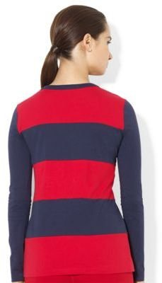 Lauren Ralph Lauren Striped Cotton Crest Crewneck