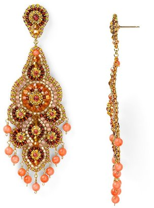 Miguel Ases Swarovski Pink Coral Chandelier Earrings