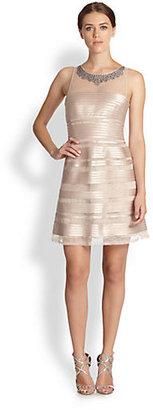 BCBGMAXAZRIA Morgane Embellished-Neck Mesh & Satin Striped Dress