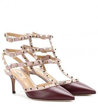 Valentino Rockstud leather kitten-heel pumps