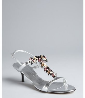 Giuseppe Zanotti silver patent leather embellished t-strap sandals