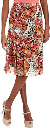 Elementz Petite Skirt, Printed Pleated A-Line