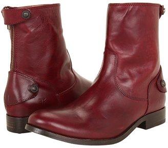 Frye Melissa Button Zip Short (Dark Brown Soft Vintage Leather) - Footwear