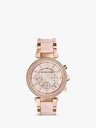 Michael Kors MK5896 Women's Parker Chronograph Bracelet Strap Watch, Multi/Blush