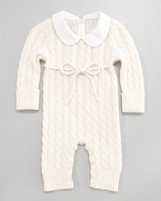 Neiman Marcus Cashmere Cable-Knit Playsuit, White