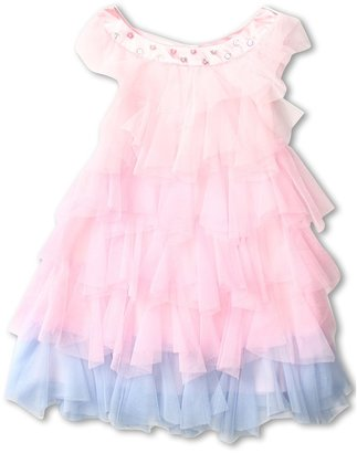 Biscotti Rococo Rose Tiered Netting Dress (Toddler) (Pink) - Apparel
