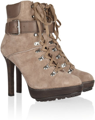 KORS Meridian lace-up suede ankle boots