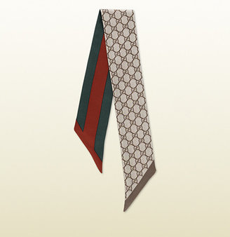 Gucci GG pattern reversible headband with web detail.