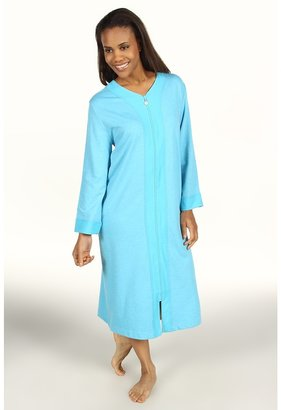 Karen Neuburger Cotton Club L/S Long Zip Robe (Heather Teal) - Apparel