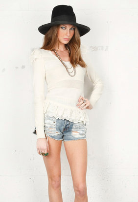 Torn By Ronny Kobo Amber Ruffle Sweater in Off White -
