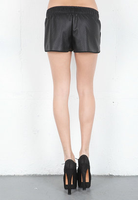 Rory Beca Surf Perforated Leather Short with Front Overlap in Onyx -
