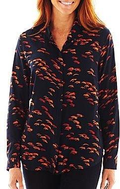 Liz Claiborne Long-Sleeve Button-Front Print Blouse - Talls