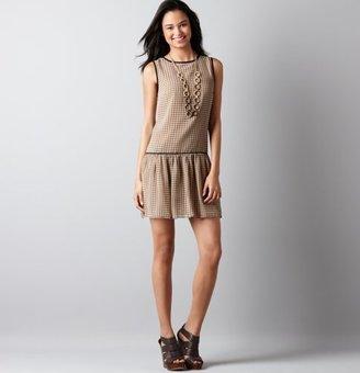 LOFT Grid Print Drop Waist Pleated Skirt Dress