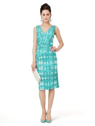 Oscar de la Renta Sleeveless V-Neck Drape Front Dress