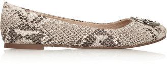 Tory Burch Reva snake-effect leather ballet flats