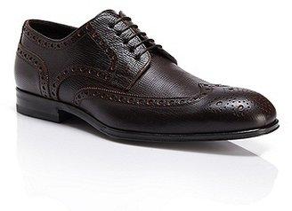 HUGO BOSS Phillon Handcrafted Textured Italian Leather Wingtip Oxfords - Medium Brown